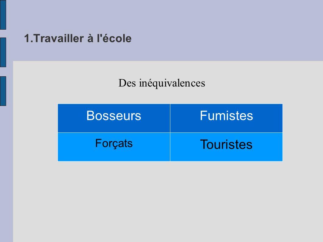 1.Travailler à l école Des inéquivalences BosseursFumistes Forçats Touristes