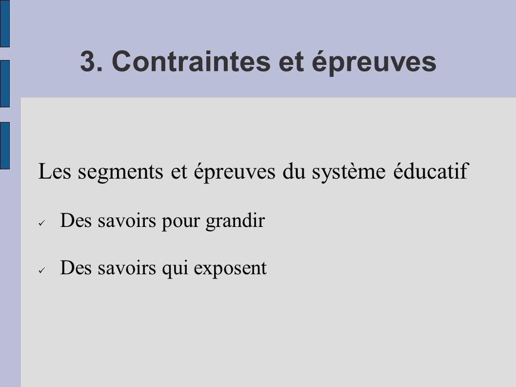 3. Contraintes et épreuves Les segments et épreuves du système éducatif Des savoirs pour grandir Des savoirs qui exposent