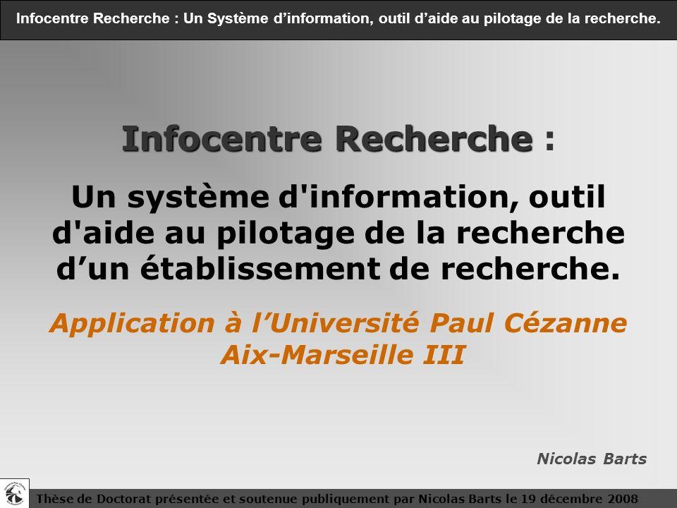 1 1 Thèse de Doctorat présentée et soutenue publiquement par Nicolas Barts le 19 décembre 2008 Infocentre Recherche : Un Système dinformation, outil d
