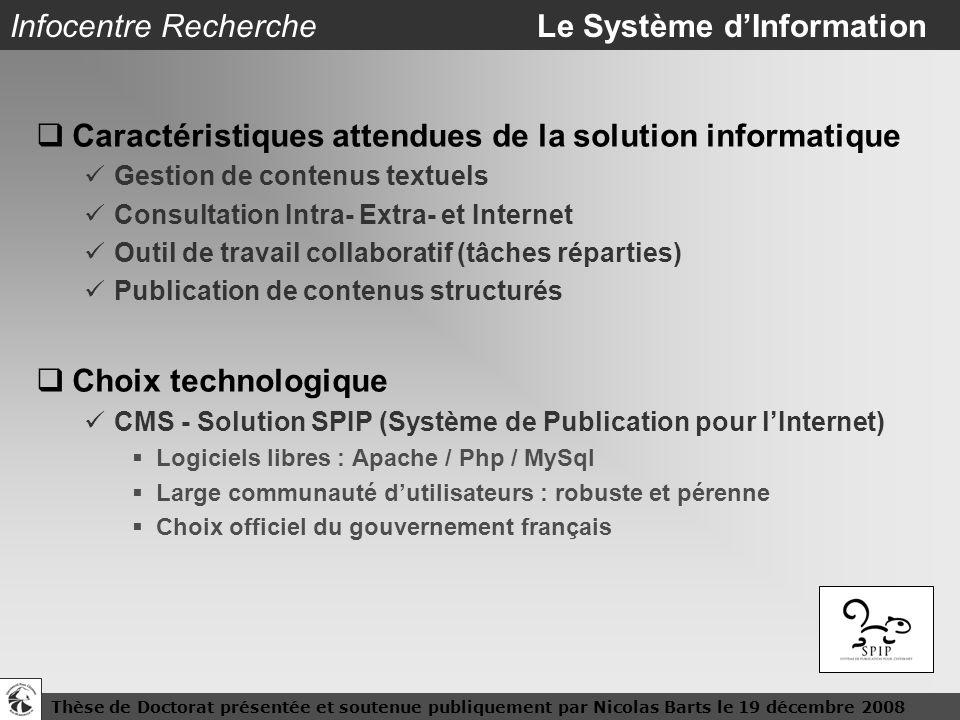 Thèse de Doctorat présentée et soutenue publiquement par Nicolas Barts le 19 décembre 200813 Infocentre Recherche Le Système dInformation Caractéristi