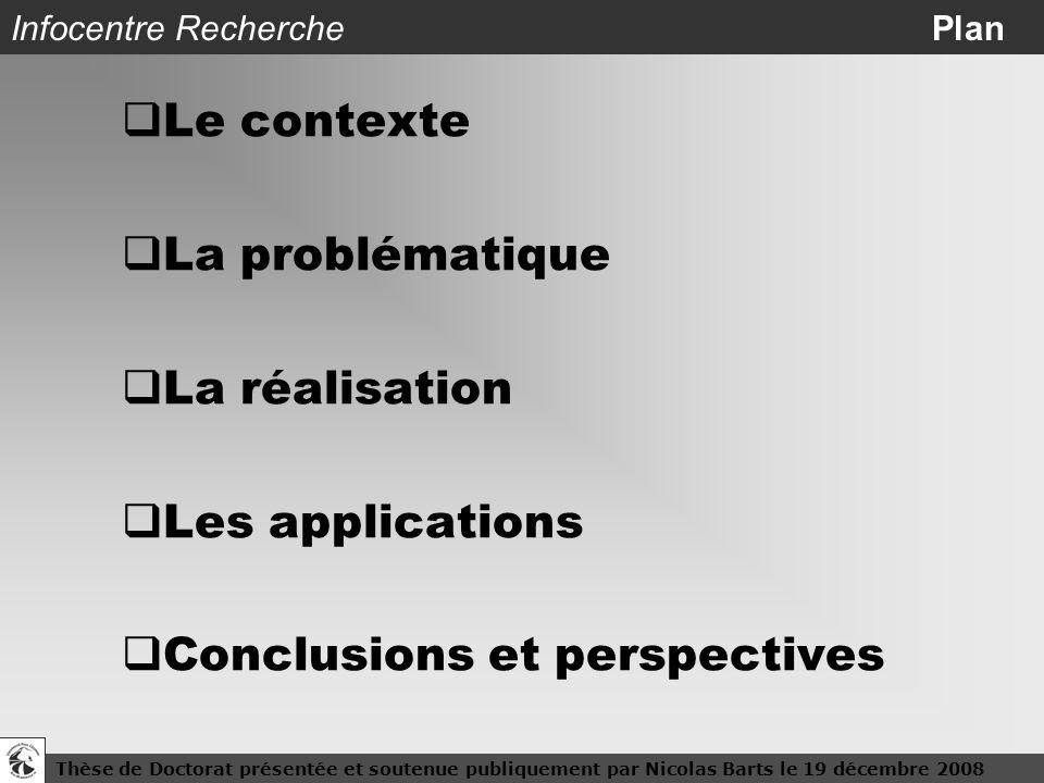 Thèse de Doctorat présentée et soutenue publiquement par Nicolas Barts le 19 décembre 20082 Infocentre Recherche Plan Le contexte La problématique La