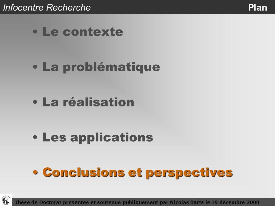 Thèse de Doctorat présentée et soutenue publiquement par Nicolas Barts le 19 décembre 200824 Infocentre Recherche Plan Le contexte La problématique La