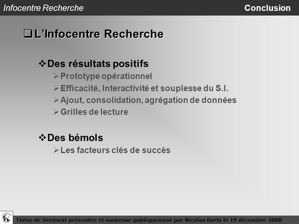 Thèse de Doctorat présentée et soutenue publiquement par Nicolas Barts le 19 décembre 200825 Infocentre Recherche Conclusion LInfocentre Recherche LIn