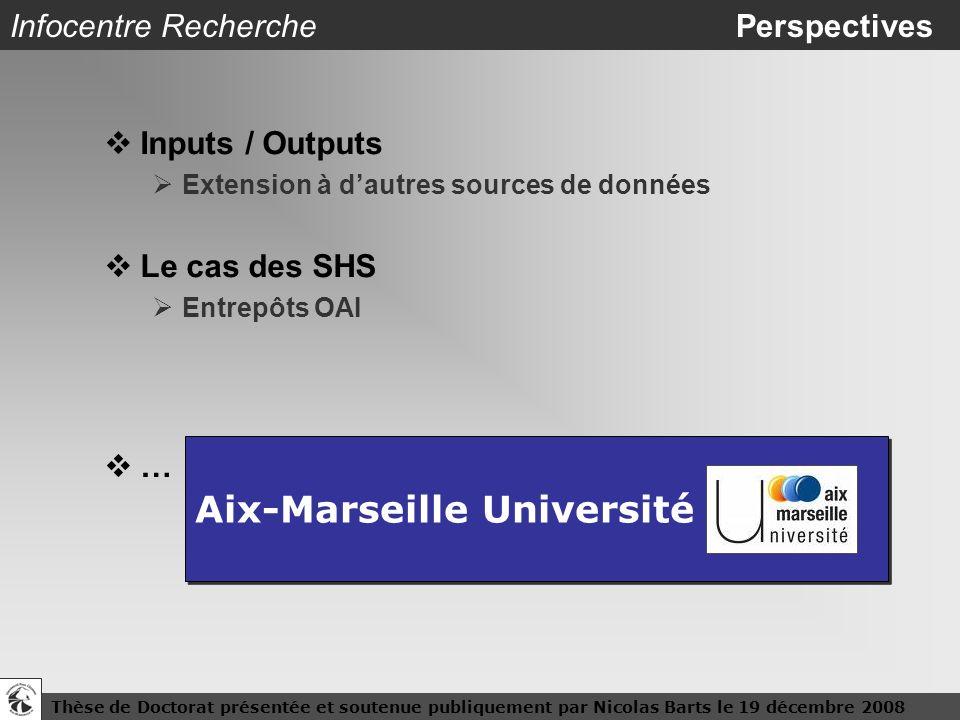 Thèse de Doctorat présentée et soutenue publiquement par Nicolas Barts le 19 décembre 200826 Infocentre Recherche Perspectives Inputs / Outputs Extens