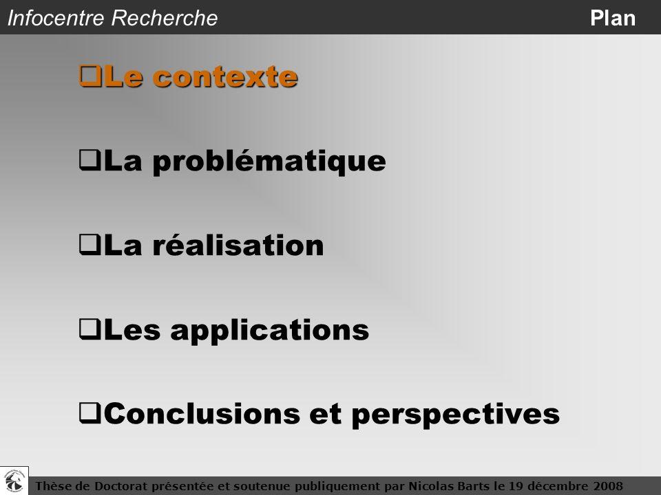 Thèse de Doctorat présentée et soutenue publiquement par Nicolas Barts le 19 décembre 20083 Infocentre Recherche Plan Le contexte Le contexte La probl