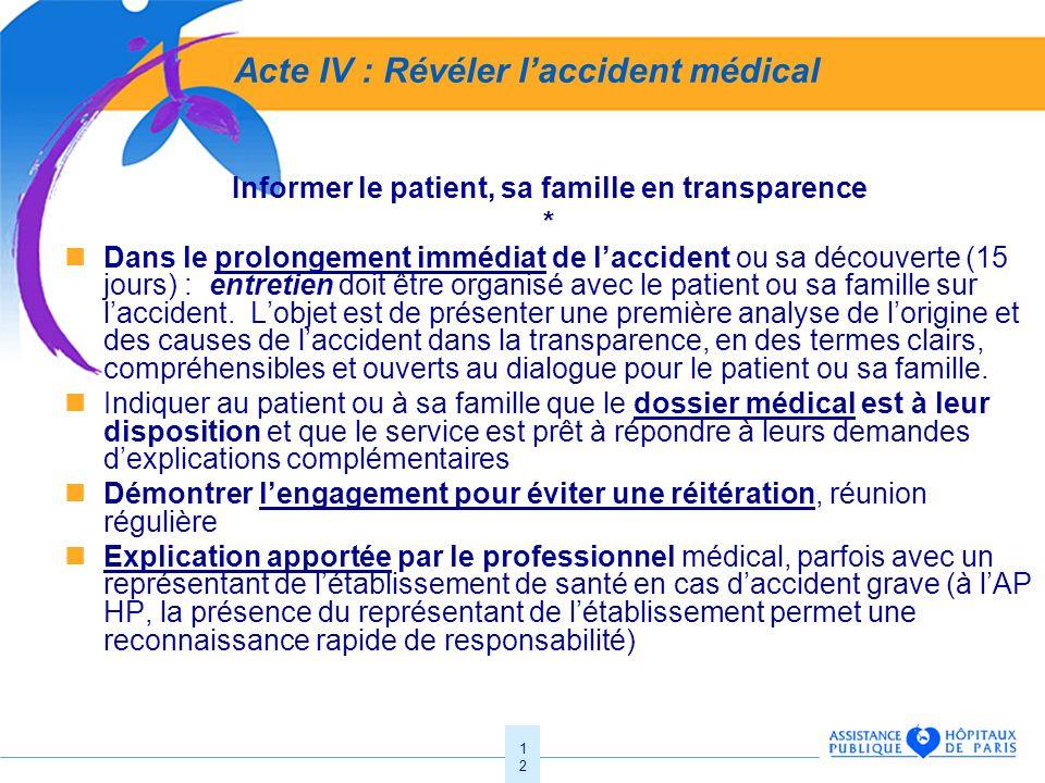 12 Acte IV : Révéler laccident médical Informer le patient, sa famille en transparence * Dans le prolongement immédiat de laccident ou sa découverte (