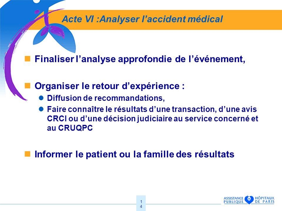 14 Acte VI :Analyser laccident médical Finaliser lanalyse approfondie de lévénement, Organiser le retour dexpérience : Diffusion de recommandations, F