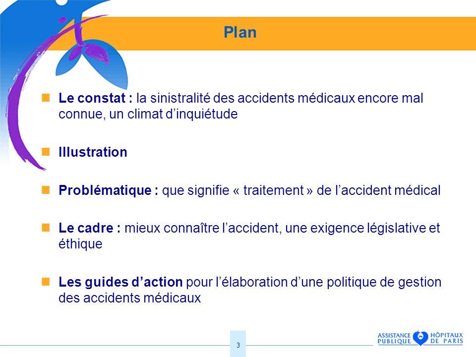 3 Plan Le constat : la sinistralité des accidents médicaux encore mal connue, un climat dinquiétude Illustration Problématique : que signifie « traite