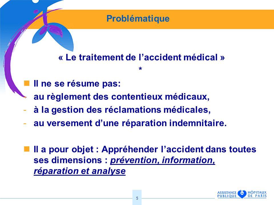 5 Problématique « Le traitement de laccident médical » * Il ne se résume pas: -au règlement des contentieux médicaux, -à la gestion des réclamations m