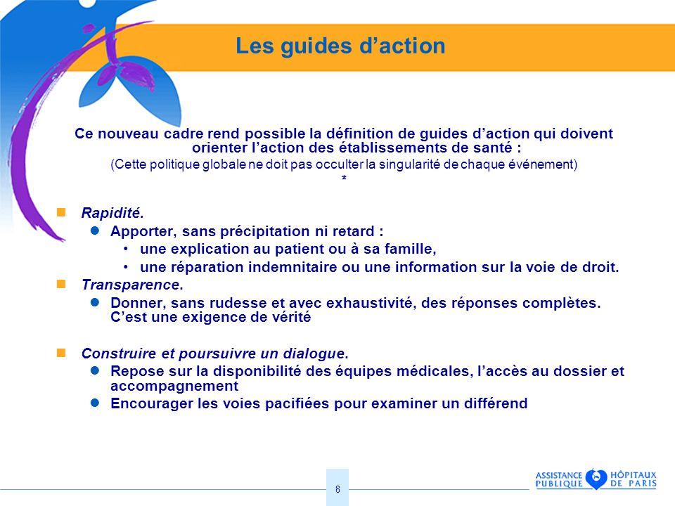 8 Les guides daction Ce nouveau cadre rend possible la définition de guides daction qui doivent orienter laction des établissements de santé : (Cette