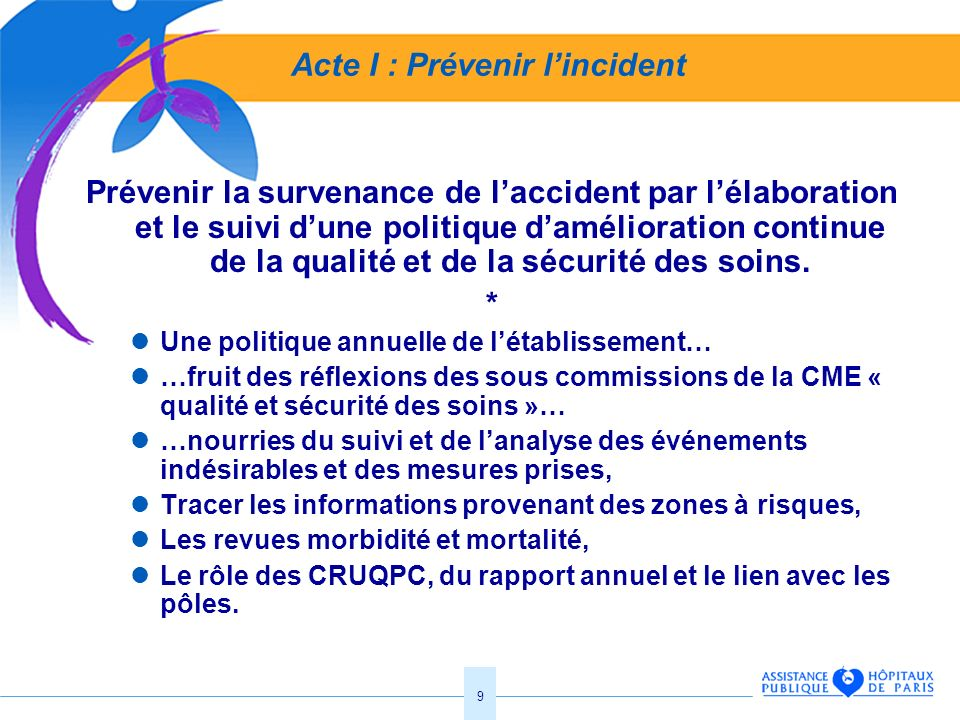 9 Acte I : Prévenir lincident Prévenir la survenance de laccident par lélaboration et le suivi dune politique damélioration continue de la qualité et