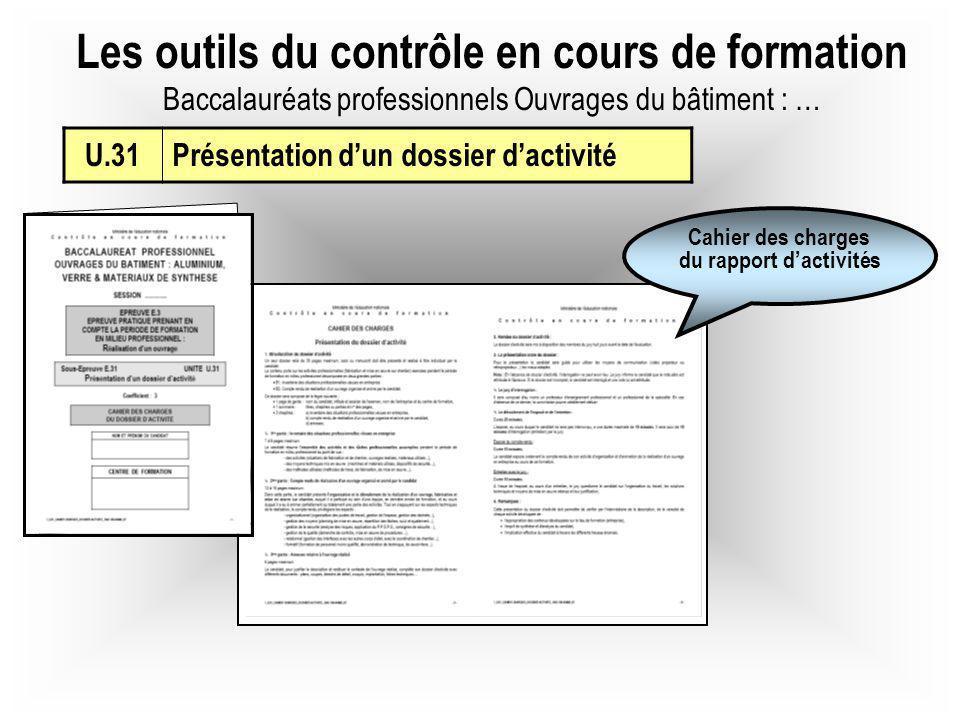 Les outils du contrôle en cours de formation Baccalauréats professionnels Ouvrages du bâtiment : … U.31Présentation dun dossier dactivité Cahier des c