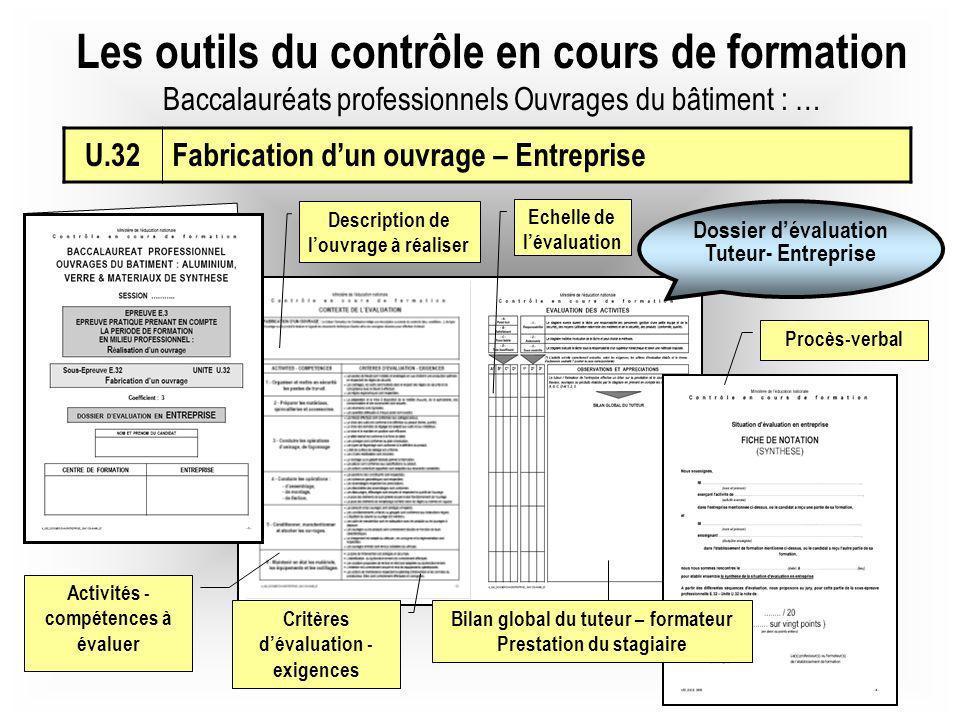 Les outils du contrôle en cours de formation Baccalauréats professionnels Ouvrages du bâtiment : … Description de louvrage à réaliser Echelle de léval