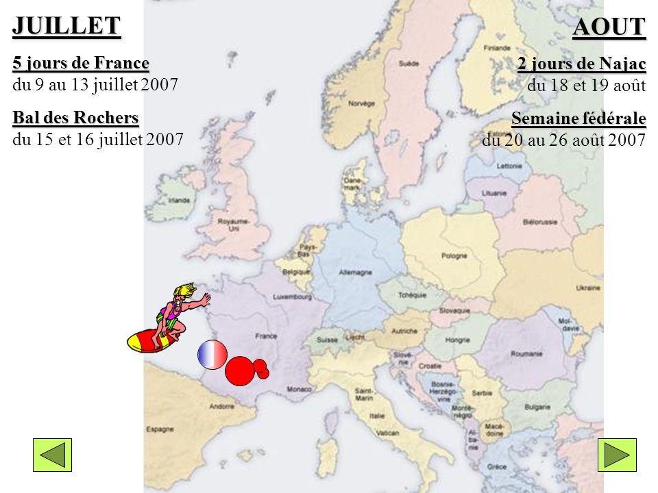 Choix ditinéraire N°5 JUILLET 5 jours de France 5 jours de France du 9 au 13 juillet 2007 Bal des Rochers Bal des Rochers du 15 et 16 juillet 2007 AOUT 2 jours de Najac 2 jours de Najac du 18 et 19 août Semaine fédérale Semaine fédérale du 20 au 26 août 2007