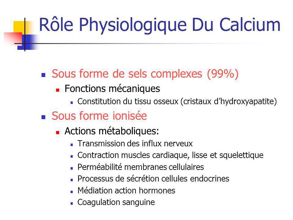 Rôle Physiologique Du Calcium Sous forme de sels complexes (99%) Fonctions mécaniques Constitution du tissu osseux (cristaux dhydroxyapatite) Sous for