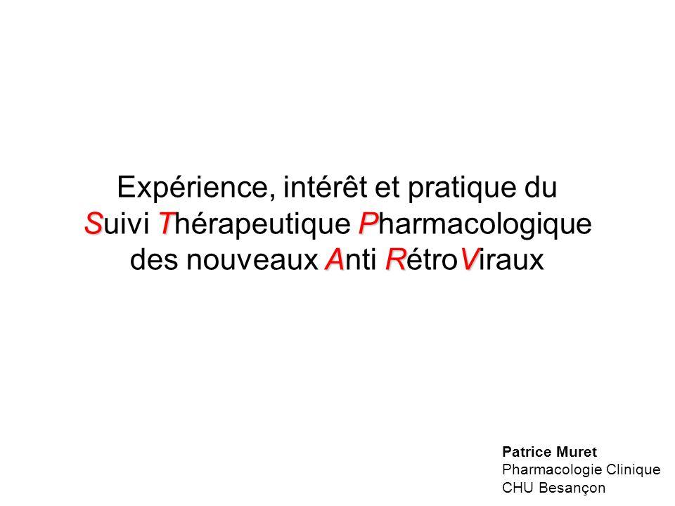 STP ARV Expérience, intérêt et pratique du Suivi Thérapeutique Pharmacologique des nouveaux Anti RétroViraux Patrice Muret Pharmacologie Clinique CHU