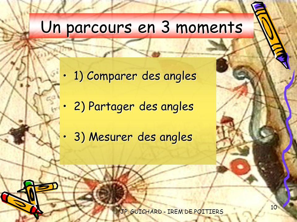 JP. GUICHARD - IREM DE POITIERS 10 Un parcours en 3 moments 1) Comparer des angles1) Comparer des angles 2) Partager des angles2) Partager des angles