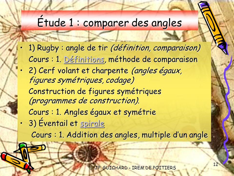 JP. GUICHARD - IREM DE POITIERS 12 Étude 1 : comparer des angles 1) Rugby : angle de tir (définition, comparaison)1) Rugby : angle de tir (définition,