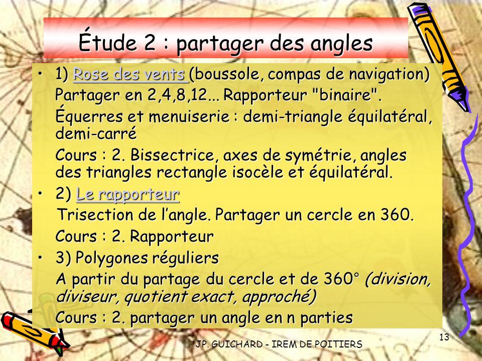 JP. GUICHARD - IREM DE POITIERS 13 Étude 2 : partager des angles 1) Rose des vents (boussole, compas de navigation)1) Rose des vents (boussole, compas