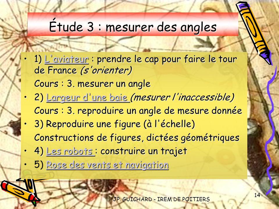 JP. GUICHARD - IREM DE POITIERS 14 Étude 3 : mesurer des angles 1) L'aviateur : prendre le cap pour faire le tour de France (s'orienter)1) L'aviateur