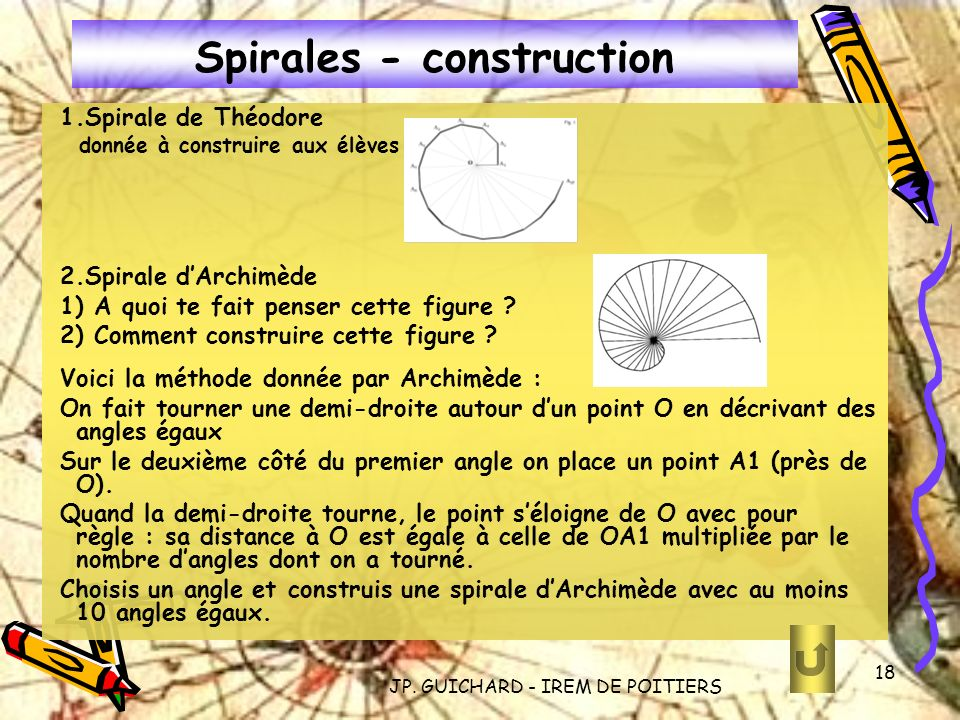 JP. GUICHARD - IREM DE POITIERS 18 Spirales - construction 1.Spirale de Théodore donnée à construire aux élèves 2.Spirale dArchimède 1) A quoi te fait