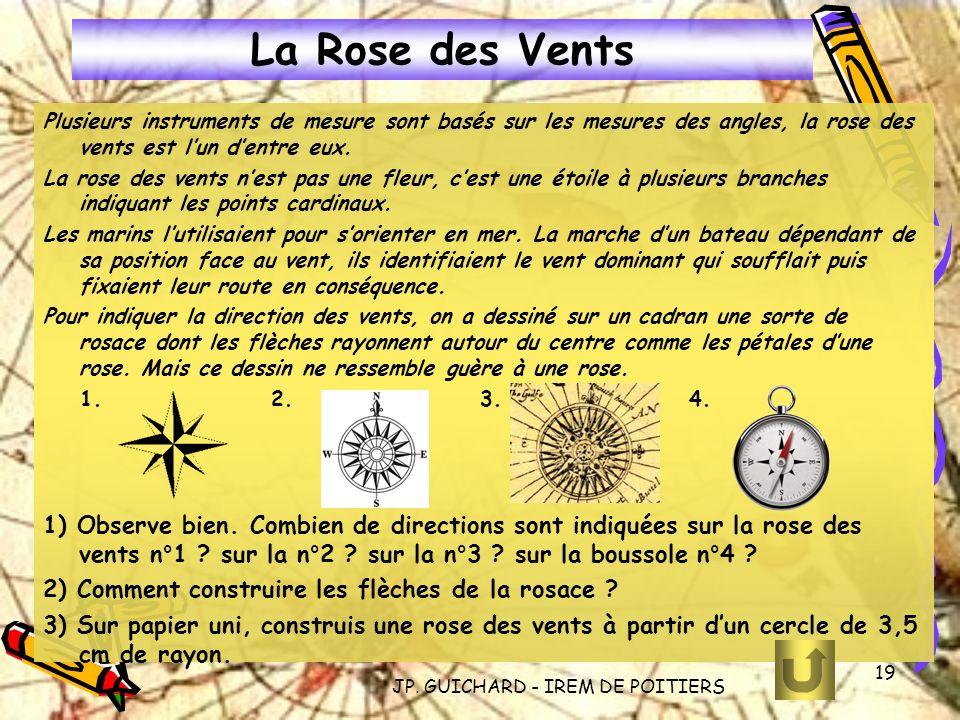 JP. GUICHARD - IREM DE POITIERS 19 La Rose des Vents Plusieurs instruments de mesure sont basés sur les mesures des angles, la rose des vents est lun