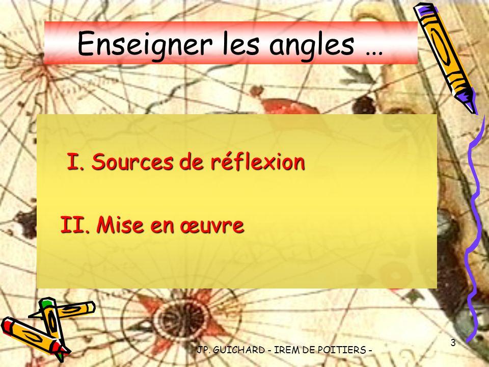 JP. GUICHARD - IREM DE POITIERS - 3 Enseigner les angles … I. Sources de réflexion II. Mise en œuvre