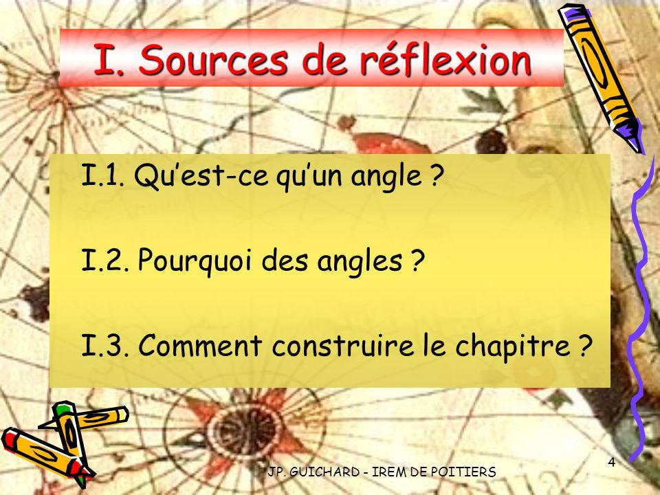 JP. GUICHARD - IREM DE POITIERS 4 I. Sources de réflexion I.1. Quest-ce quun angle ? I.2. Pourquoi des angles ? I.3. Comment construire le chapitre ?
