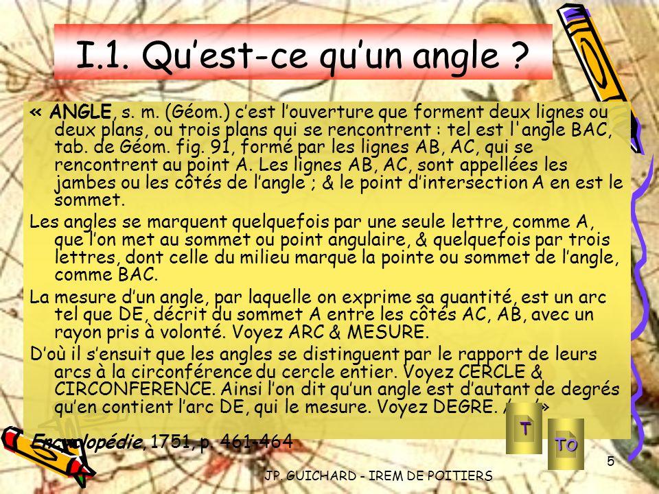 JP. GUICHARD - IREM DE POITIERS 5 I.1. Quest-ce quun angle ? « ANGLE, s. m. (Géom.) cest louverture que forment deux lignes ou deux plans, ou trois pl