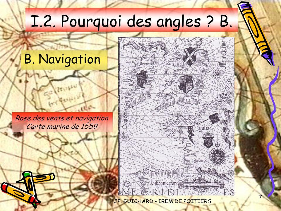 JP. GUICHARD - IREM DE POITIERS 7 I.2. Pourquoi des angles ? B. B. Navigation Rose des vents et navigation Carte marine de 1559