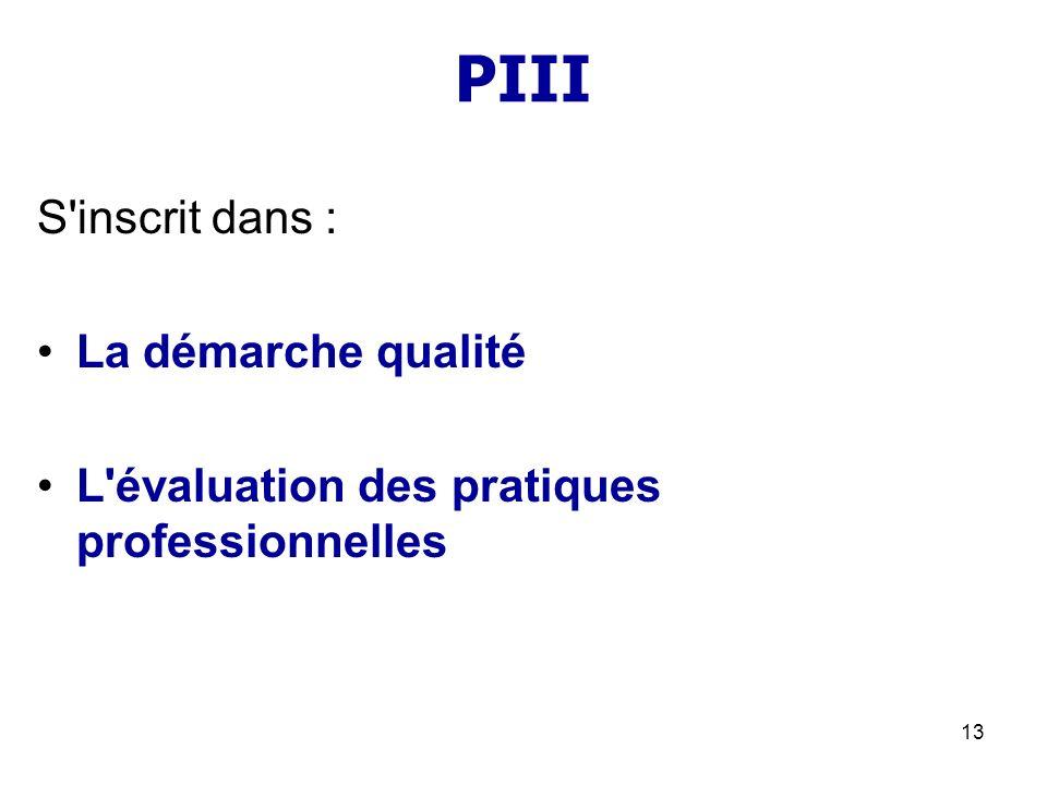 13 PIII S'inscrit dans : La démarche qualité L'évaluation des pratiques professionnelles