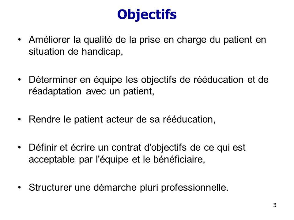 3 Objectifs Améliorer la qualité de la prise en charge du patient en situation de handicap, Déterminer en équipe les objectifs de rééducation et de ré