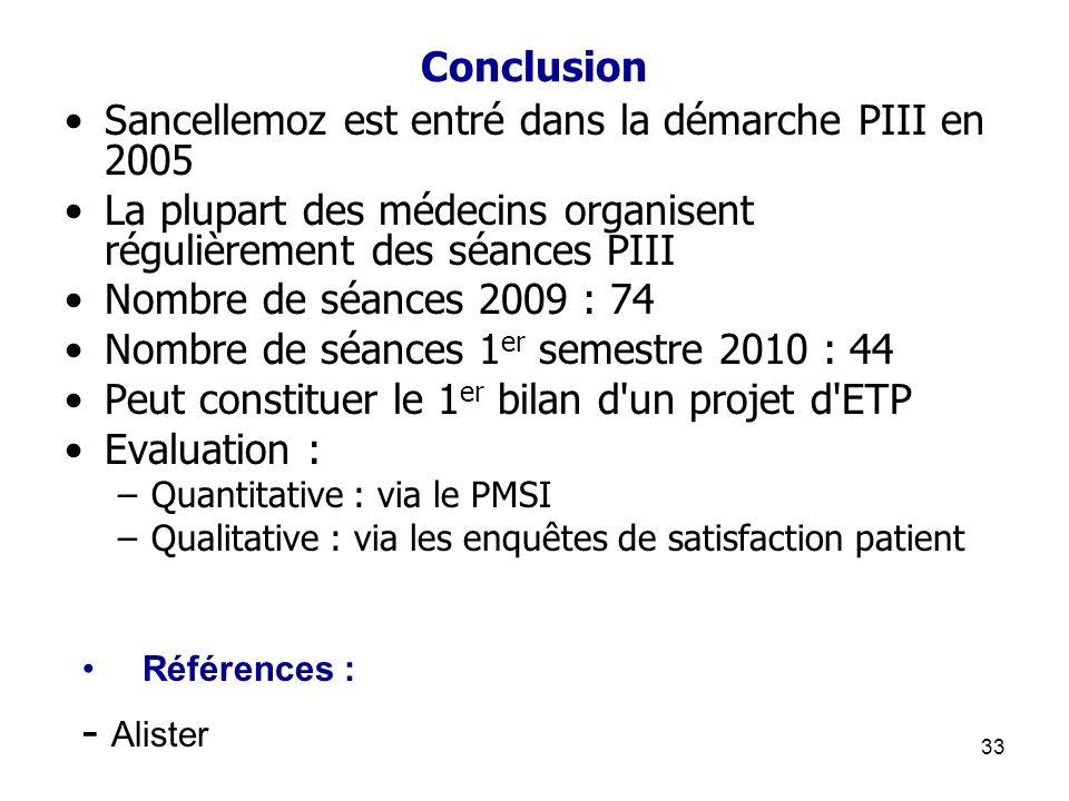 33 Conclusion Sancellemoz est entré dans la démarche PIII en 2005 La plupart des médecins organisent régulièrement des séances PIII Nombre de séances