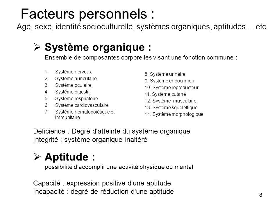 8 Facteurs personnels : Age, sexe, identité socioculturelle, systèmes organiques, aptitudes….etc. Système organique : Ensemble de composantes corporel