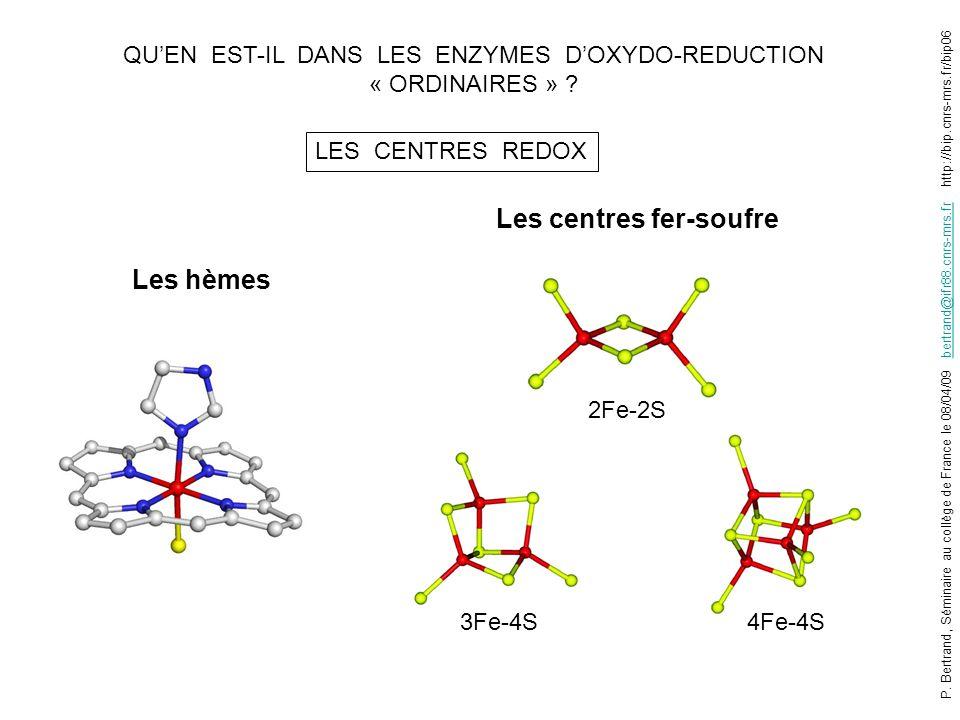 QUEN EST-IL DANS LES ENZYMES DOXYDO-REDUCTION « ORDINAIRES » ? LES CENTRES REDOX Les hèmes Les centres fer-soufre 2Fe-2S 3Fe-4S4Fe-4S P. Bertrand, Sém