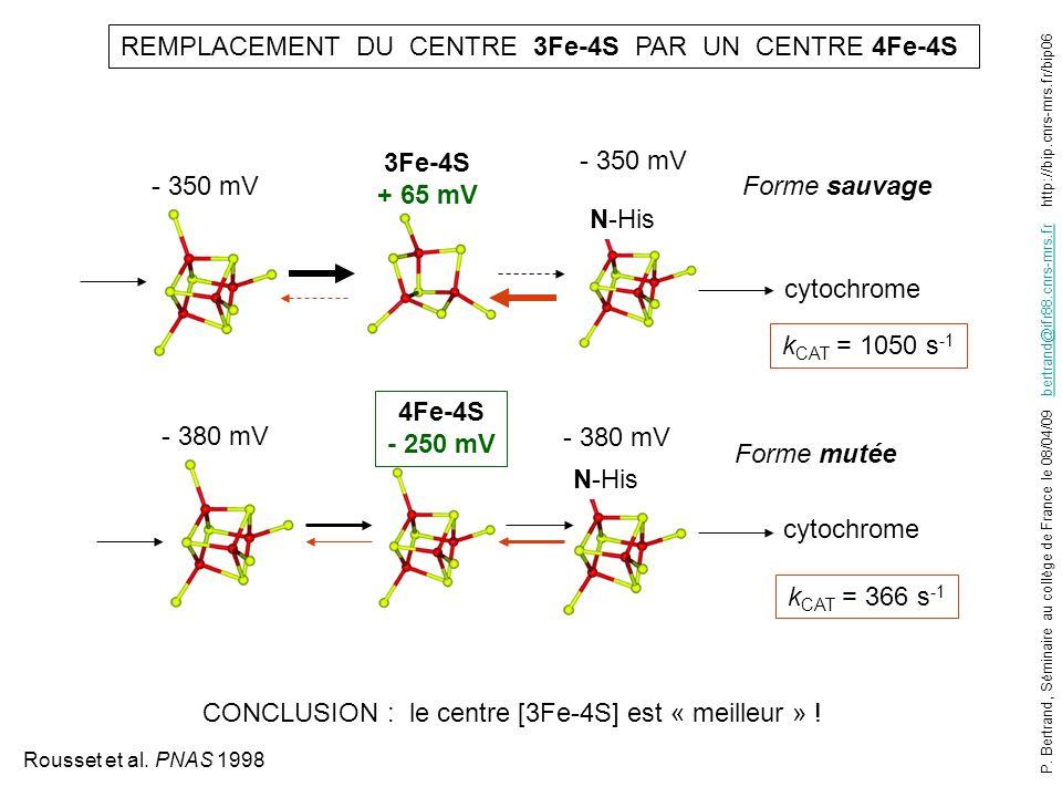 3Fe-4S + 65 mV 4Fe-4S - 250 mV - 350 mV REMPLACEMENT DU CENTRE 3Fe-4S PAR UN CENTRE 4Fe-4S cytochrome - 380 mV cytochrome k CAT = 1050 s -1 k CAT = 36