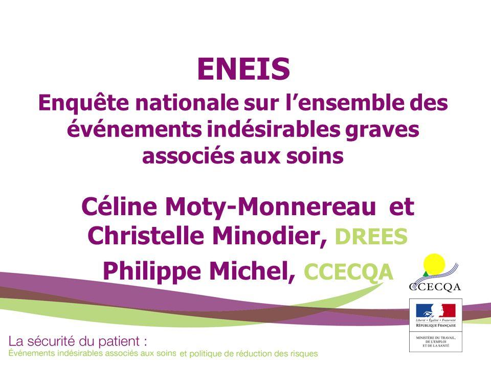 ENEIS Enquête nationale sur lensemble des événements indésirables graves associés aux soins Céline Moty-Monnereau et Christelle Minodier, DREES Philip