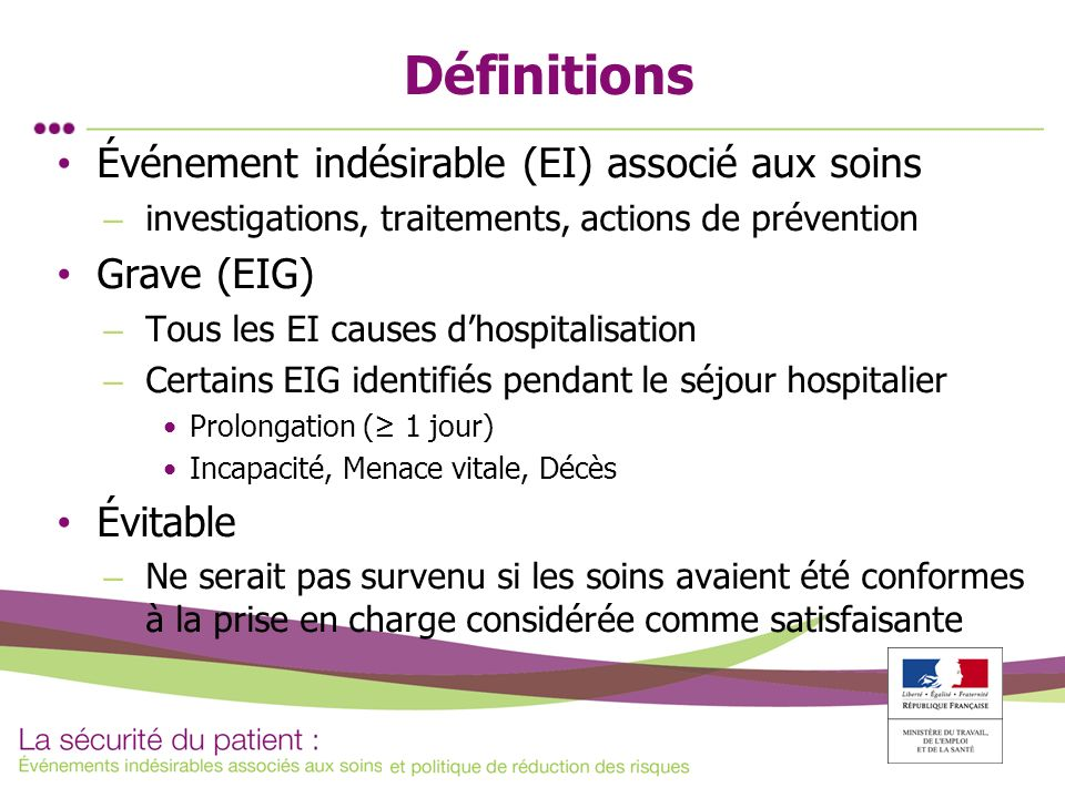 Définitions Événement indésirable (EI) associé aux soins – investigations, traitements, actions de prévention Grave (EIG) – Tous les EI causes dhospit