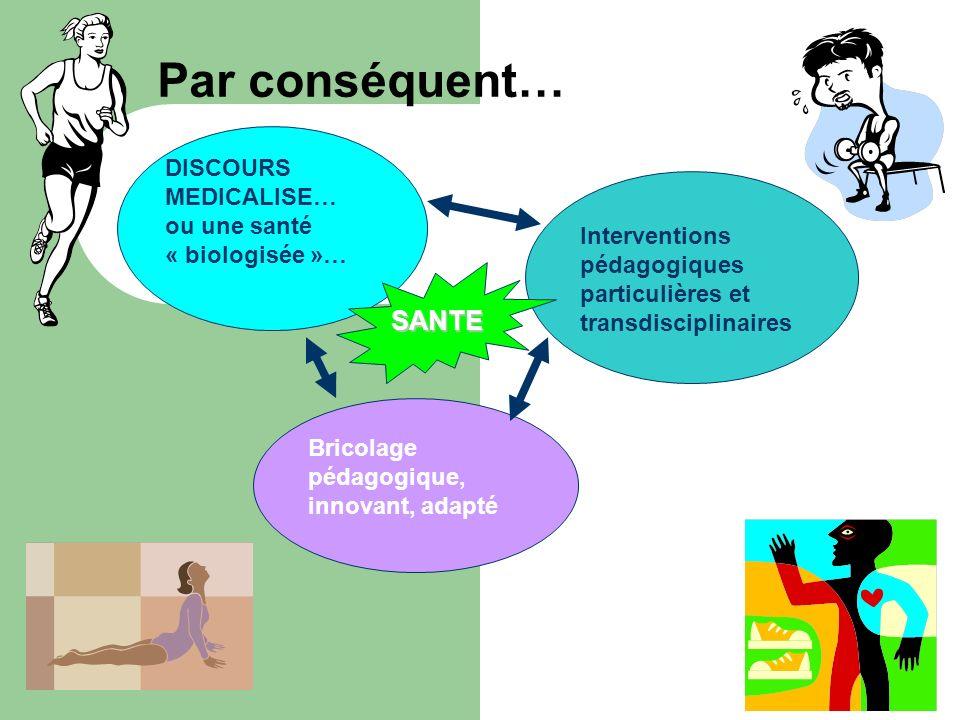 Par conséquent… DISCOURS MEDICALISE… ou une santé « biologisée »… Interventions pédagogiques particulières et transdisciplinaires Bricolage pédagogiqu