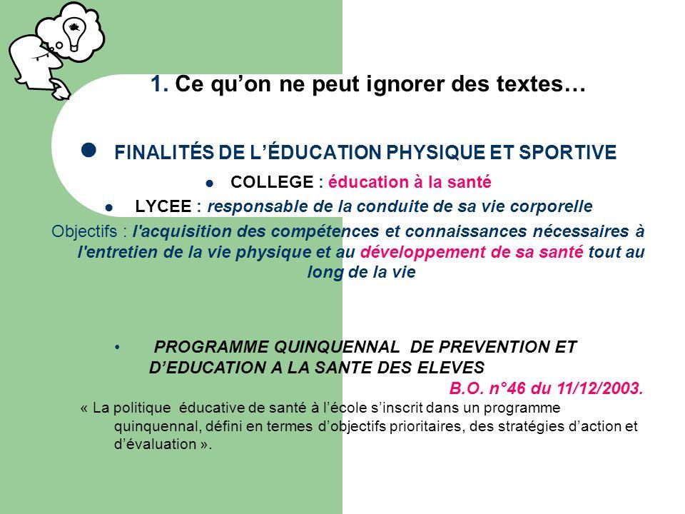 FINALITÉS DE LÉDUCATION PHYSIQUE ET SPORTIVE COLLEGE : éducation à la santé LYCEE : responsable de la conduite de sa vie corporelle Objectifs : l'acqu