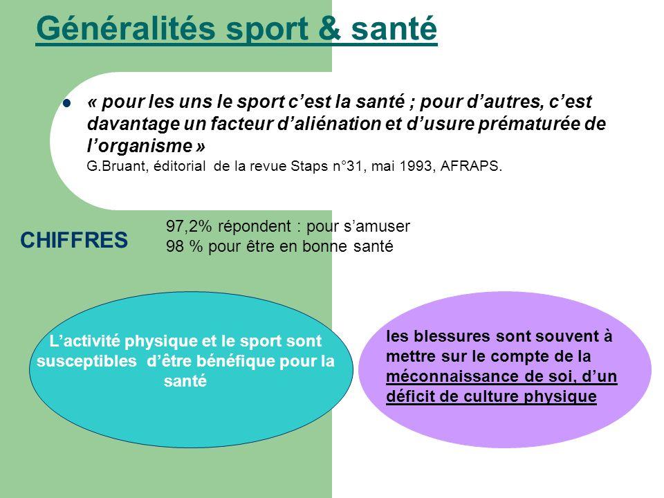 Généralités sport & santé « pour les uns le sport cest la santé ; pour dautres, cest davantage un facteur daliénation et dusure prématurée de lorganis