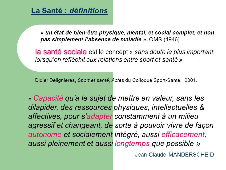 La Santé : définitions « un état de bien-être physique, mental, et social complet, et non pas simplement labsence de maladie ». OMS (1946) la santé so