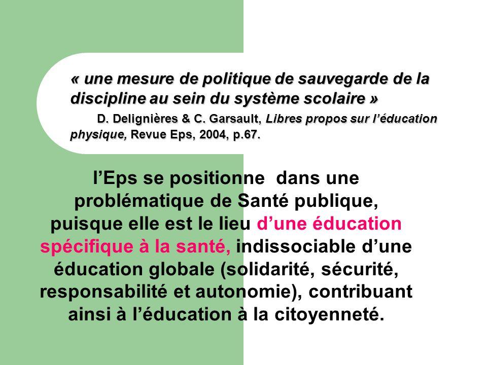 « une mesure de politique de sauvegarde de la discipline au sein du système scolaire » D. Delignières & C. Garsault, Libres propos sur léducation phys