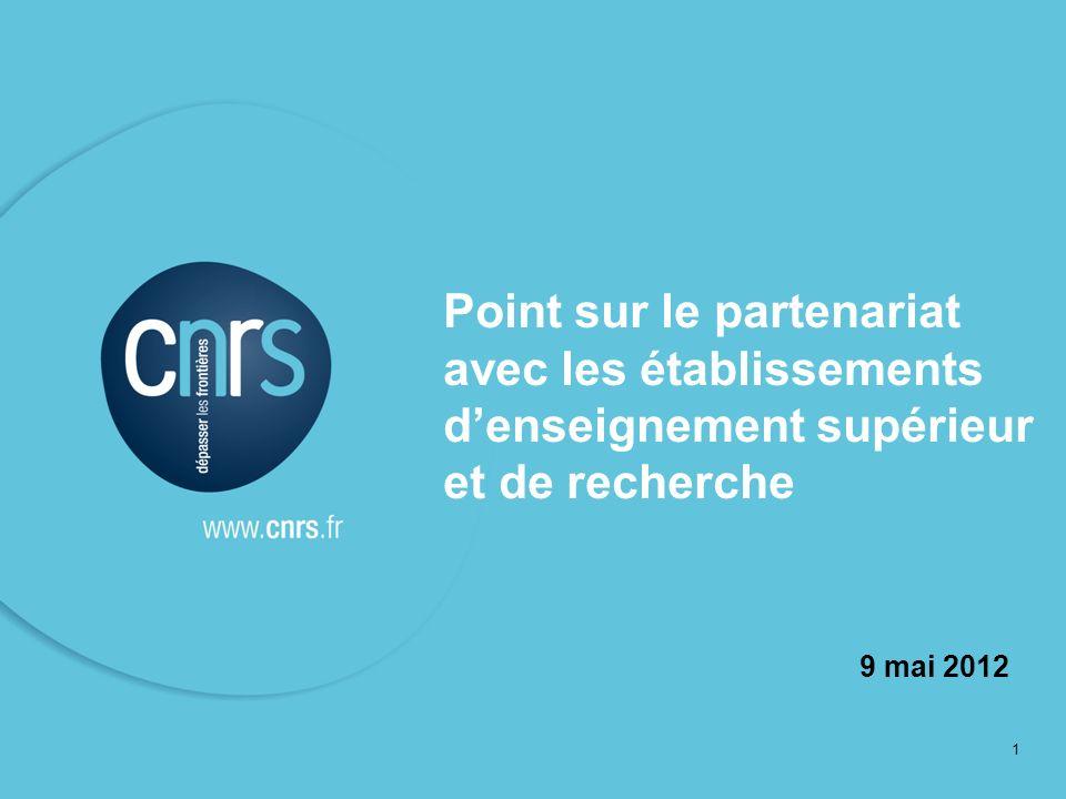 1 Point sur le partenariat avec les établissements denseignement supérieur et de recherche 9 mai 2012