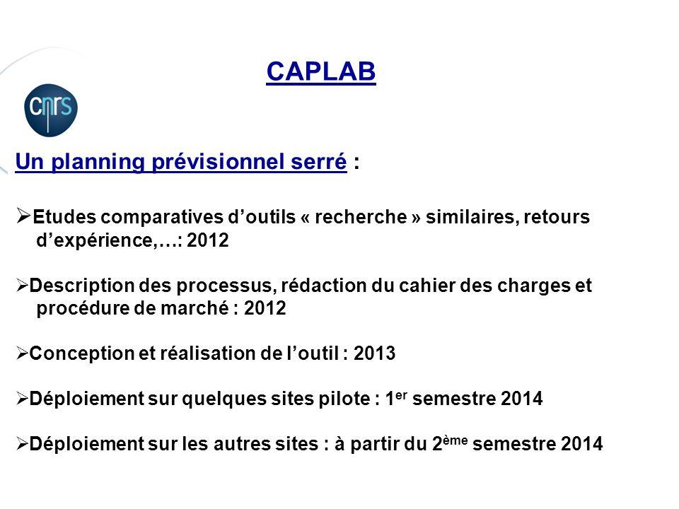 P. 10 CAPLAB Un planning prévisionnel serré : Etudes comparatives doutils « recherche » similaires, retours dexpérience,…: 2012 Description des proces