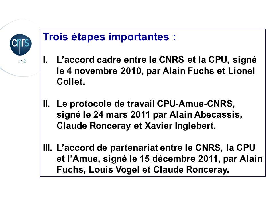 P. 2 Trois étapes importantes : I.Laccord cadre entre le CNRS et la CPU, signé le 4 novembre 2010, par Alain Fuchs et Lionel Collet. II. Le protocole