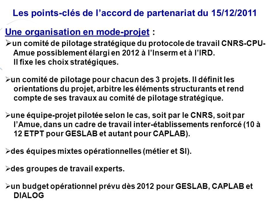 P. 4 Les points-clés de laccord de partenariat du 15/12/2011 Une organisation en mode-projet : un comité de pilotage stratégique du protocole de trava
