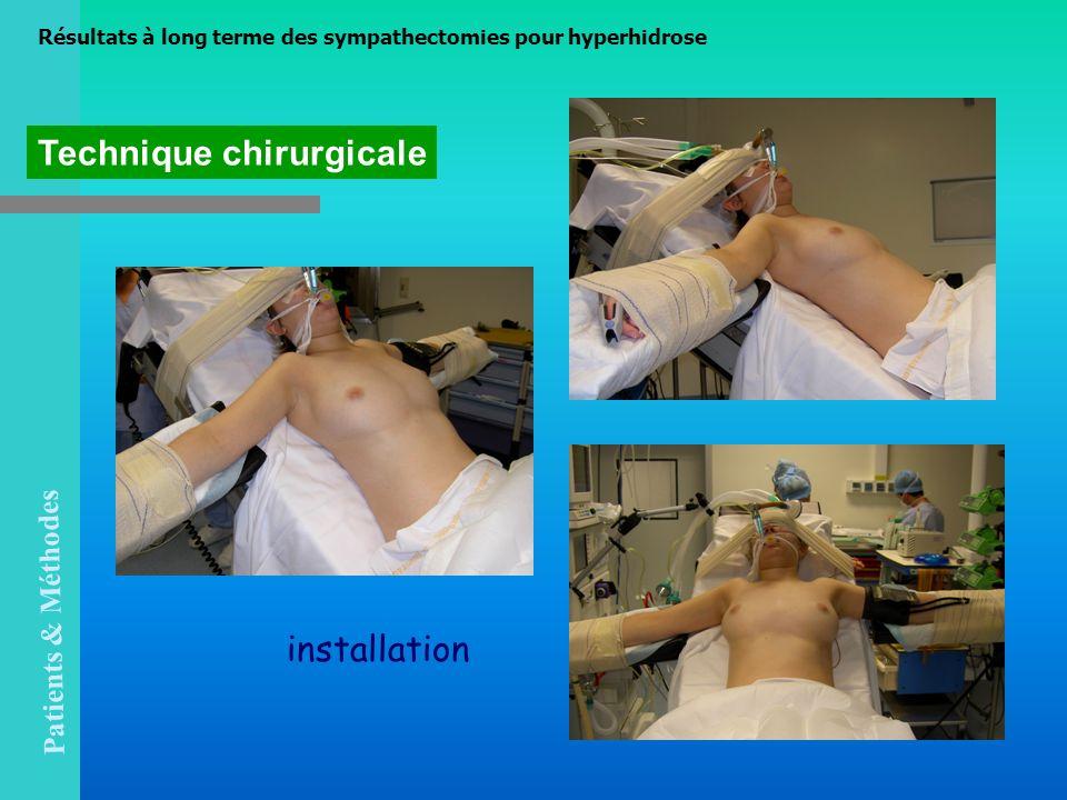 Technique chirurgicale installation Résultats à long terme des sympathectomies pour hyperhidrose Patients & Méthodes