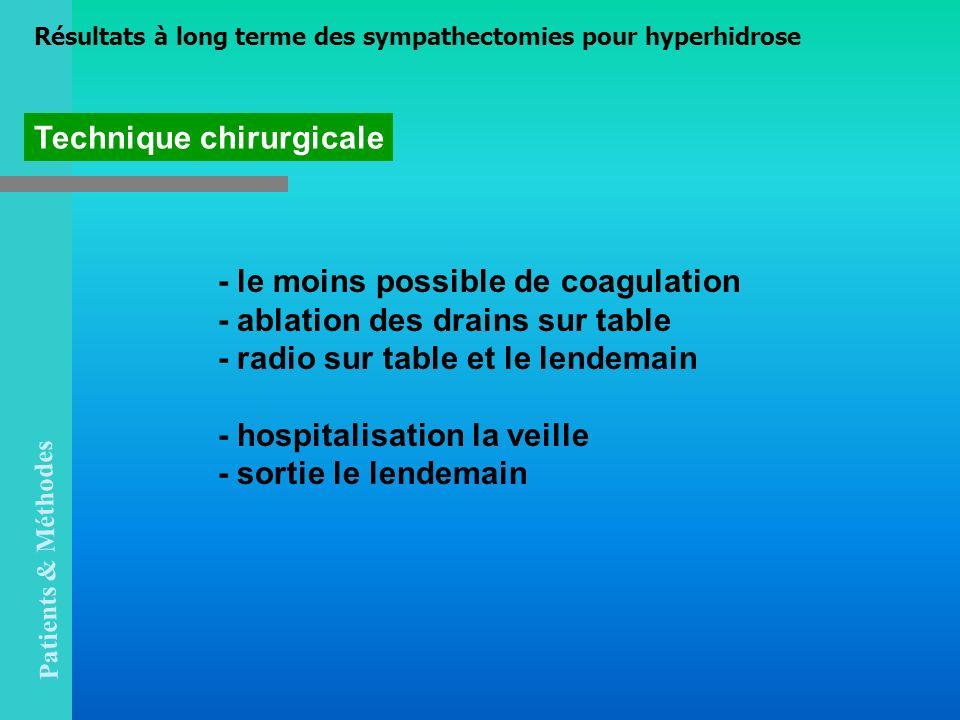 Technique chirurgicale - le moins possible de coagulation - ablation des drains sur table - radio sur table et le lendemain - hospitalisation la veill