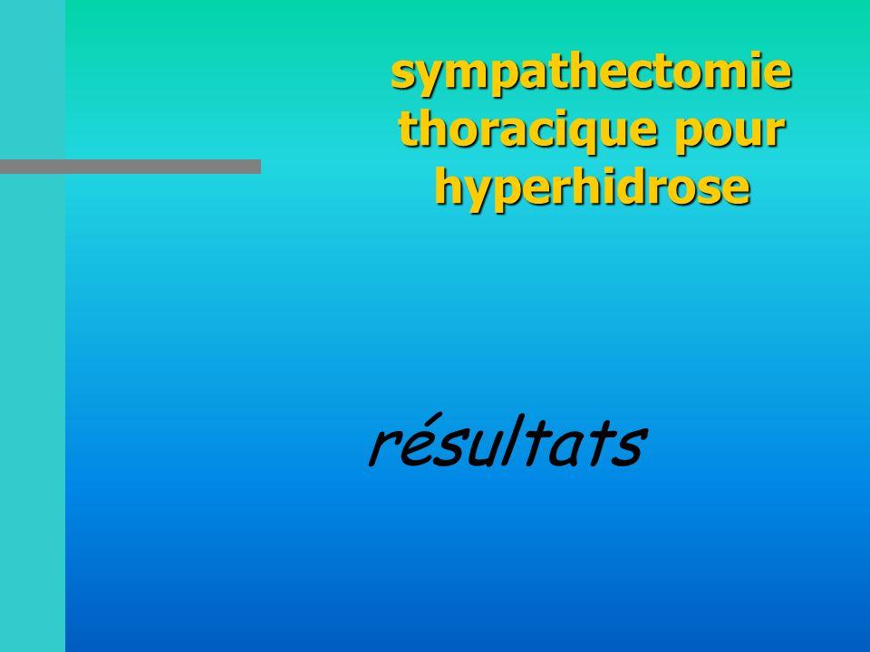 sympathectomie thoracique pour hyperhidrose résultats